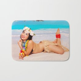 """Sandy Shores"" - The Playful Pinup - Tropical Beach Pin-up Girl by Maxwell H. Johnson Bath Mat"