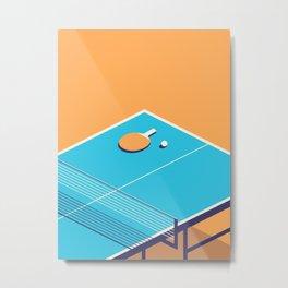 Table Tennis Isometric - Orange Metal Print