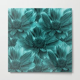 Turquoise Floral Abstract Metal Print