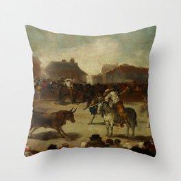 "Francisco Goya ""Corrida de toros en un pueblo"" Throw Pillow"