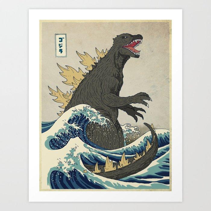 The Great Godzilla off Kanagawa Kunstdrucke