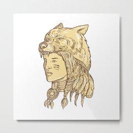 Native American Woman Wearing Wolf Headdress Metal Print