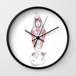 Collector, portrait of girl Wall Clock