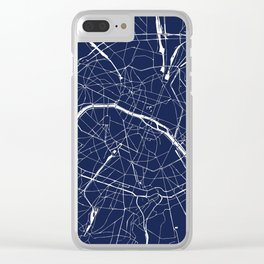 Paris France Minimal Street Map - Navy Blue and White Reverse Clear iPhone Case