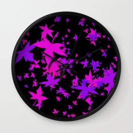 Fall Leaves in Purple Wall Clock