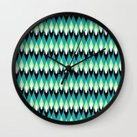 mid century Wall Clocks featuring Mid-century Mod by Holly Helgeson