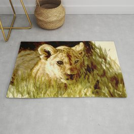Lion Cub watercolor Rug