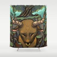 taurus Shower Curtains featuring Taurus by MelonBerri