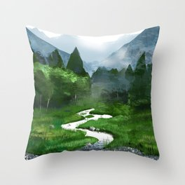 Forest River Illustration  Throw Pillow