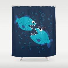 Gossiping Blue Piranha Fish Shower Curtain