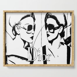 Sketched Fashion White on Black Serving Tray