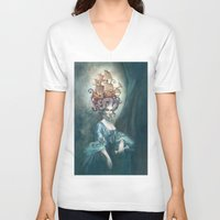 marie antoinette V-neck T-shirts featuring Marie Antoinette by Iris Compiet