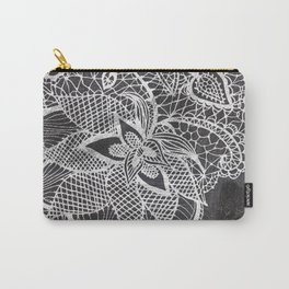 White hand drawn floral lace black chalkboard Carry-All Pouch