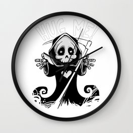 Cute Grim Reaper with Scythe Pointing - Free Hugs Version Wall Clock