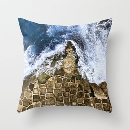 An abstract of the ocean and the coastal rocks. Throw Pillow