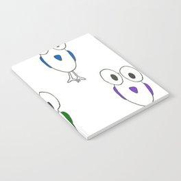 Big eyed birds on white Notebook