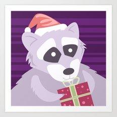 Christmas Raccoon Art Print