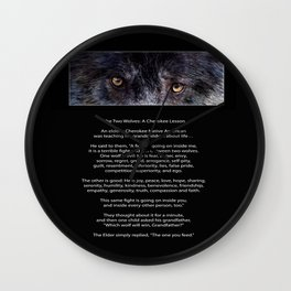 TWO WOLVES CHEROKEE  Native American Tale Wall Clock