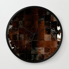 cowhide texture patchwork Wall Clock