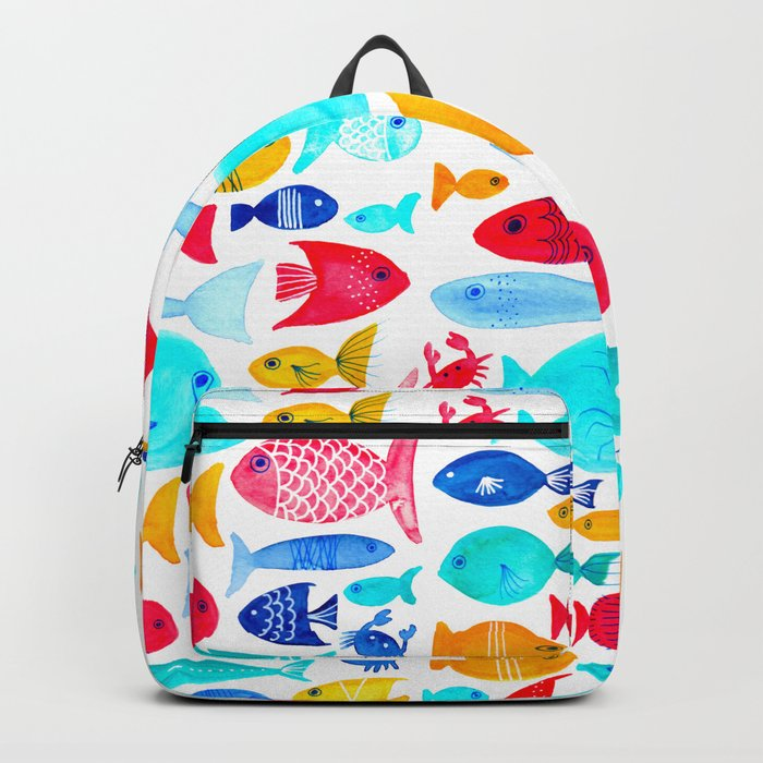Fish Pattern - Ocean - Nautical - Sea - Swim - Crabs - Summer Backpack
