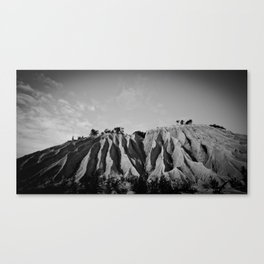 Two lonely mountains with trees on top Canvas Print