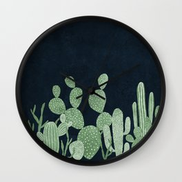 Green cactus garden Wall Clock