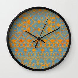 chevron deco in blues and orange Wall Clock