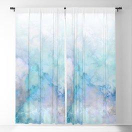 Fresh Blue and Aqua Ombre Frozen Marble Blackout Curtain