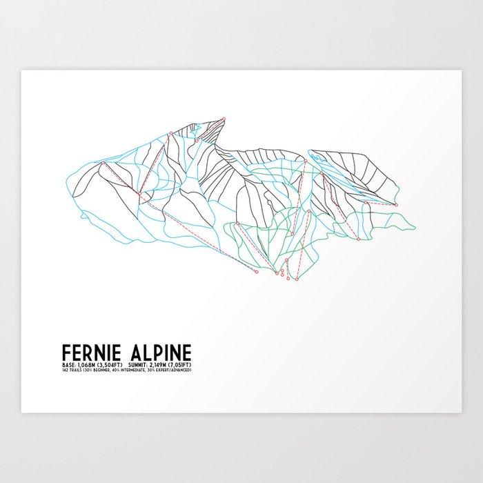 Fernie, British Columbia, Canada - Minimalist Trail Maps Kunstdrucke