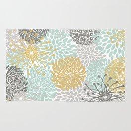 Floral Abstract Print, Yellow, Gray, Aqua Rug