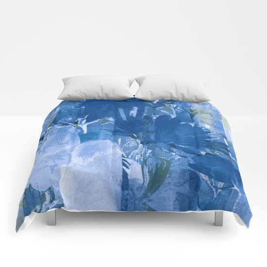 abstract blue forest Comforters