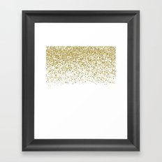 Sparkling gold glitter confetti on white backround- Pattern Framed Art Print