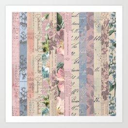 Vintage Shabby Florals Art Print
