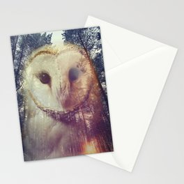 Merge owl and forest reflection Stationery Cards