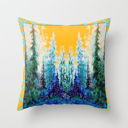 Western Gold  Modern Art Mountain Trees Blue  Art Throw Pillow