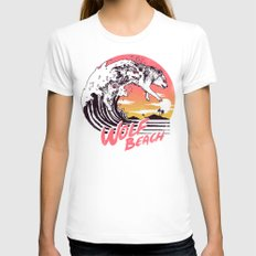 Wolf Beach White MEDIUM Womens Fitted Tee