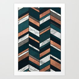 Abstract Chevron Pattern - Copper, Marble, and Blue Concrete Art Print
