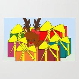Cute reindeer hiding behind Christmas gifts Rug