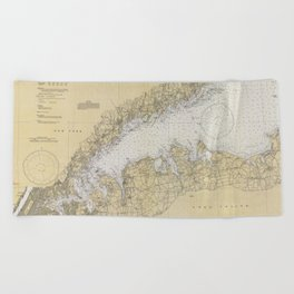 Vintage Map of The Long Island Sound (1934) Beach Towel