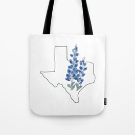 texas // watercolor bluebonnet state flower map Tote Bag