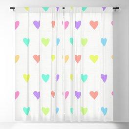 Cute Pastel Rainbow Hearts Pattern Blackout Curtain
