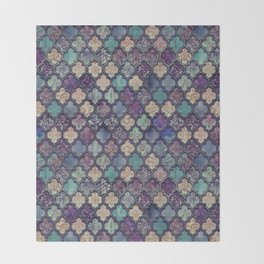 Moroccan Tile Design In Retro Colors Throw Blanket
