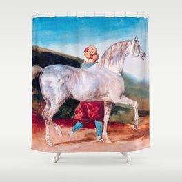 "Follower of Théodore Géricault ""Arabian Gray Led By An Arab"" Shower Curtain"