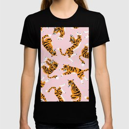 Lovely tiger falling from the pastel sky hand drawn illustration pattern T-shirt