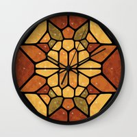 sacred geometry Wall Clocks featuring Sacred geometry - Voronoi by Enrique Valles