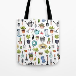 Garden Gear - Spring Gardening Pattern w/ Garden Tools & Supplies Tote Bag