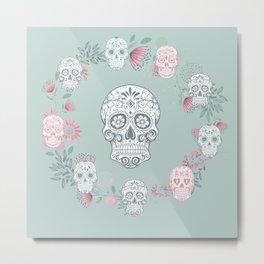 Sugar Skull Wreath, Día de Muertos Metal Print