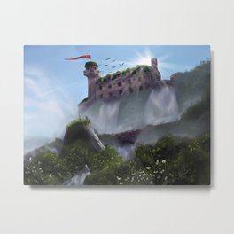 Mansion on a Waterfall Metal Print