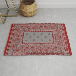 Classic Gray and Red Bandana Rug