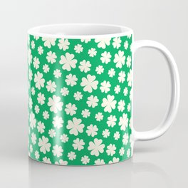 Off-White Four Leaf Clover Pattern with Green Background Coffee Mug